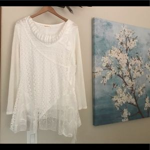 Simply Couture boho white top - size large